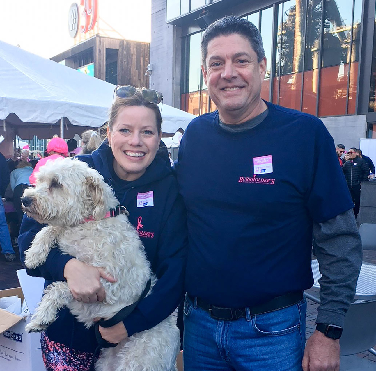 Bob and Marissa Burkholder with their dog Selby at the 2017 Making Strides Against Breast Cancer Walk
