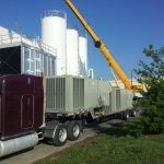 Three forty-ton Trane rooftop units waiting to be installed at Niagara Bottling